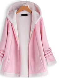 cheap -Women's Solid Colored Active Fall & Winter Teddy Coat Regular Holiday Long Sleeve Cotton Blend Coat Tops Blushing Pink