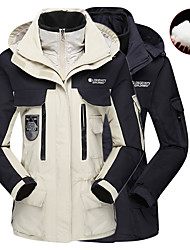 cheap -Women's Hiking Down Jacket Hiking 3-in-1 Jackets Winter Outdoor Patchwork Waterproof Windproof Warm Soft Jacket Down Jacket Top Camping / Hiking Hunting Fishing White / Black / Pink / Orange / Dark