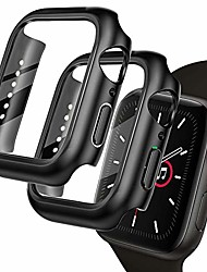 cheap -fvlerz case compatible for apple watch 40mm series 6/5/ 4/ se, 2 pack ultra thin hd tempered glass case all-around protective cover for series 6/5/ 4/ se 40mm smartwatch accessories (black)