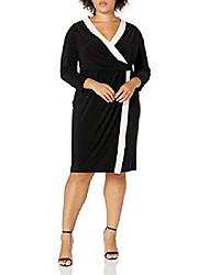 cheap -women's plus size colorblock wrap dress, anne black/anne white, 1x