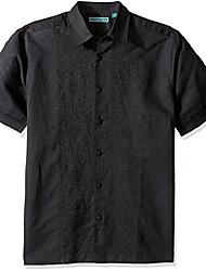 cheap -men's short sleeve 100% linen embroidered button-down shirt, aqua foam, extra large