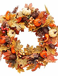 cheap -autumn front door wreath fall wreath for front door artificial flowers garland- ideal for autumn & halloween & thanksgiving day (color a)
