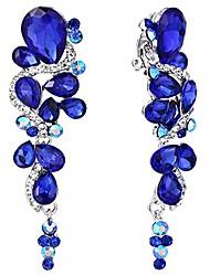 cheap -brilove wedding bridal clip on earrings for women bohemian boho crystal multiple teardrop chandelier dangle earrings royal blue sapphire color silver-tone