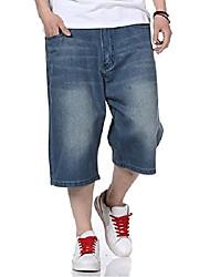 cheap -mens jean shorts relaxed fit denim short jeans classic plain casual plus size 30w-46w (36)