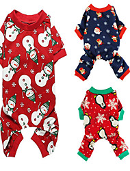 cheap -Dog Cat Costume Jumpsuit Pajamas Casual / Sporty Cute Christmas Casual / Daily Dog Clothes Puppy Clothes Dog Outfits Breathable Blue Red Costume for Girl and Boy Dog Cotton XS S M L XL