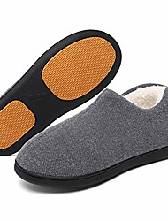 cheap -men lightweight home slippers cozy memory foam winter house shoes indoor outdoor anti-skid clog gray 7 us