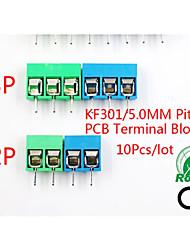 cheap -1pcs/lot Kf301-5.0-2p Kf301-3p Kf301-4p Pitch 5.0mm Straight Pin 2p 3p Screw Pcb Terminal Block Connector Blue Green