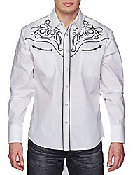 cheap -men's embroidered western inspired long sleeves button down dress shirt