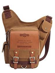 cheap -Unisex Bags Canvas Sling Shoulder Bag Chest Bag Zipper Daily Outdoor Black Khaki Gray Coffee