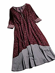 cheap -sexy womens dresses summer floral print o-ncek layered long sleeve button vintage maxi chic print popolar casual dress