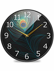 cheap -peacock plume feather acrylic painted silent non-ticking round wall clock, 12 inch battery operated quiet bathroom clock for living room kitchen office decor