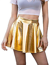 cheap -women shiny metallic skirt flared pleated holographic a-line mini skater skirts m