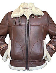 cheap -raf b3 ginger aviator pilot sheepskin white fur shearling bomber brown leather jacket