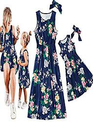 cheap -mommy and me dresses floral print spaghetti straps maxi dress family matching sleeveless high waist long dress sundress (blue, daughter/1-2t)