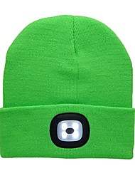 cheap -unisex 4led knitted beanie hat built-in rechargeable led head lights hands free beanie cap camping, grilling, auto repair, jogging, walking handyman working (green)