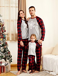 cheap -Family Look Family Matching Outfits Clothing Set Geometric Long Sleeve Print Gray Christmas