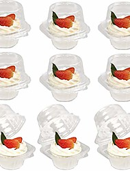 cheap -50 pcs plastic individual cupcake containers, clear cupcake boxes, disposable cupcake holders with lid, single compartment muffin carrier for wedding, baby shower, stackable, standard size