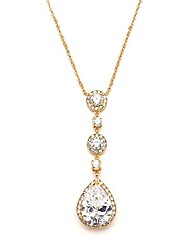 cheap -14kt gold plated wedding bridal necklace - y-style pendant with round & pear-shaped cz teardrop