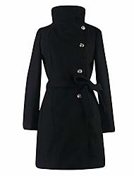 cheap -womens coat parka wool belted waist plain elegant side-button dress outerwear, uk 6-14(2xl(14),black)