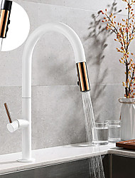cheap -Brass Kitchen Faucet Single Handle One Hole Electroplated / Painted Finishes Pull-out and Free Standing Kitchen Taps with Cold and Hot Water