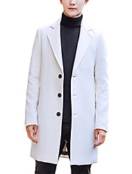 cheap -men's solid trench coat long  blend slim fit jacket overcoat beige white