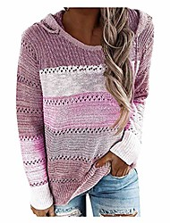cheap -Women's Color Block Pullover Long Sleeve Sweater Cardigans Crew Neck Autumn / Fall Pink Blue Purple