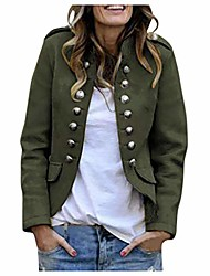 cheap -Women's Jacket Solid Color Modern Style Chic & Modern Polyester Shopping Coat Tops ArmyGreen