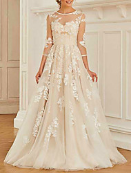 cheap -A-Line Wedding Dresses Jewel Neck Sweep / Brush Train Lace Tulle 3/4 Length Sleeve Romantic Beach with Pleats Appliques 2021
