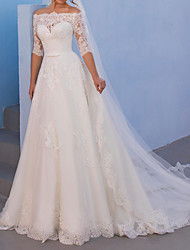 cheap -A-Line Wedding Dresses Off Shoulder Sweep / Brush Train Lace Tulle 3/4 Length Sleeve Country with 2020