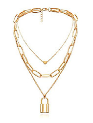 cheap -gold layered chunky chain necklace for women elegant heart lock pendant y necklace (heart lock pendant)