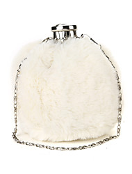 cheap -Women's Bags Faux Fur Polyester Evening Bag Feathers / Fur Solid Color Plush Wedding Bags Wedding Party Black Blushing Pink Beige Gray