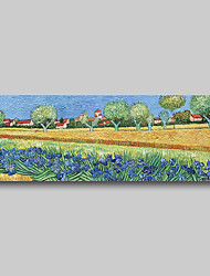cheap -Hand Painted Van Gogh Museum Quality Oil Painting - Abstract Landscape Village Irises Field Modern Large Rolled Canvas