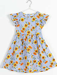 cheap -Kids Little Girls' Dress Plants Print Light Blue Midi Short Sleeve Flower Dresses Children's Day Loose