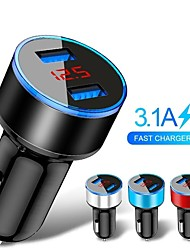cheap -3.1A Car Charger Mobile Phone Fast Charging Adapter in Car with LED Display Quick Charge Dual USB Car Charger Universal for Xiaomi Samsung For iPhone 11 Pro 7 8 Plus Mobile Phone Adapter Car Charger