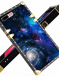 cheap -iphone 7 plus, iphone 8 plus case luxury blue starry sky galaxy space square soft tpu wrapped edges and hard pc back stylish classic retro case 5.5 inch