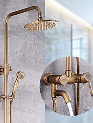 cheap -Antique Copper Shower System Set,Mount Outside Waterfall Pullout Bath Shower Mixer Taps with Handshower,Bodysprays,Valve and Hot/Cold Switch