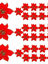 cheap -30 pieces glitter christmas tree ornaments artificial wedding christmas poinsettia flowers for christmas flowers tree wreaths decor ornament (christmas red)