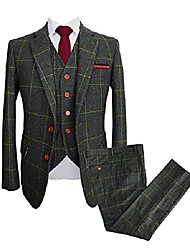 cheap -mens vintage 3 piece checkered plaid suit tweed blazer vest pants (green, 48l)