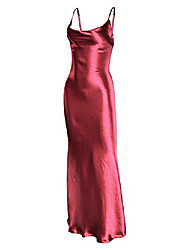 cheap -women's spaghetti strap backless party evening gown dress red