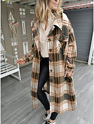 cheap -Women's Plaid Active Fall & Winter Trench Coat Long Holiday Long Sleeve Cotton Blend Coat Tops Red