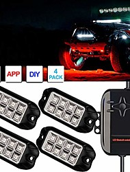 cheap -goodrun rock lights 4 pods rgb multicolor neon led light kit with bluetooth controller rgb remote controll & timing function & music mode for underglow off road jeep truck suv atv boat as