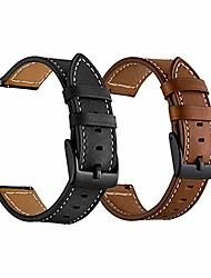 cheap -vivoactive 3 leather watch bands for men women, 20mm quick release genuine leather straps with black metal buckle compatible for garmin vivoactive 3 music/forerunner 645/245 smartwatch, 2 pack
