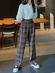 cheap -Women's Chino Daily Casual Pants Chinos Pants Plaid Checkered Plaid Grid / Plaid Full Length Print Black