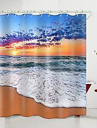 cheap -Huoshaoyun Bailang Beach Digital Printing Shower Curtain Shower Curtains  Hooks Modern Polyester New Design 72 Inch