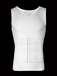 cheap -men slimming body shaper vest gynecomastia shirt tank top compression shirt shapewear (l chest 48-55inch, white)