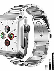 cheap -case +band for apple watch 40mm series 6 se rugged metal bumper case stainless steel band with built-in tempered glass for iwatch 5 4 40mm full protective cover strap screen protector(silver)