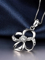cheap -Women's White Synthetic Diamond Pendant Necklace Chain Necklace Rolo Flower Fashion Punk Trendy Casual / Sporty Copper Silver Plated Silver 40+5 cm Necklace Jewelry 1pc For Anniversary Street Sport