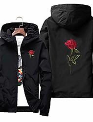 cheap -rose floral jacket windbreaker for men zip-up hooded waterproof windproof college jackets (black , 2xl)