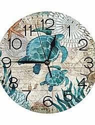 "cheap -turtle in the deep sea wall clock 10"""" round, silent non ticking quartz - battery operated wall clock non ticking silent clocks for home decor living room kitchen bedroom office"