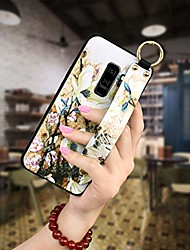 cheap -phone case compatible with samsung galaxy s9 plus,slim emboss flower full body protective cover case for galaxy s9 plus with hand strap holder-6.2 inch